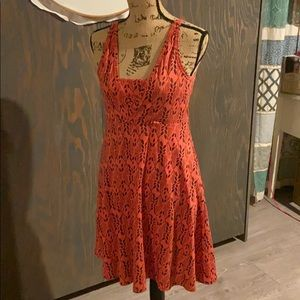 Toad&Co dress in coral and navy blue size S